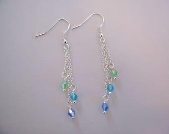 Beautiful Swarovski Crystal Dangle Earrings in Blues and Green Sterling Silver
