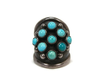 Vintage Native American Turquoise Sterling Snake Eye Ring, Size 7, Knuckle Ring, Estate Jewelry, Navajo Ring