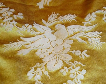 "SCALAMANDRE BARANZELLI ""PALOMA"" Doves Silk Damask Fabric 10 yards Yellow Gold"