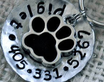 Pet id tag dog tag / Piglet Paw domed