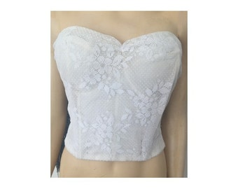 Vintage French white lace  bustier CORSET //  wedding bridal lingerie