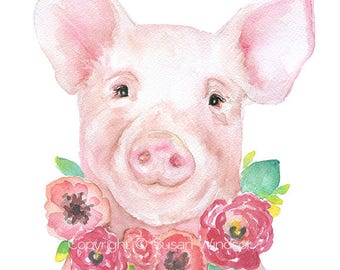 Pink Piglet Floral 3 Watercolor Painting - 11 x 14 - Giclee Print Reproduction - Nursery Decor Farm Animal