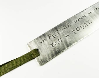 Motivational Bookmark - Inspiring Quote (Future Depends On You) on Silver Metal Book Mark with Olive Green Leather Tassel
