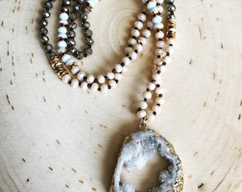 Long beaded geode Necklace // white druzy necklace // Boho jewelry // layering necklace // Everyday Jewelry