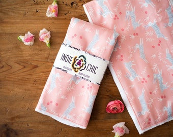 Indie & Chic Oversized Burp Cloths - Baby Gift Set - Changing Pad - Head Pad -  Spring Summer Collection - Pink Bunnies