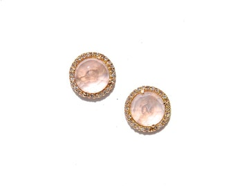 Rose Gold Pave Diamond & Rose Quartz Earrings/Studs**Made To Order**