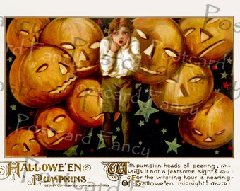 EVIL PUMPKINS, Vintage Schmucker Halloween Postcard, Instant DIGITAL Download