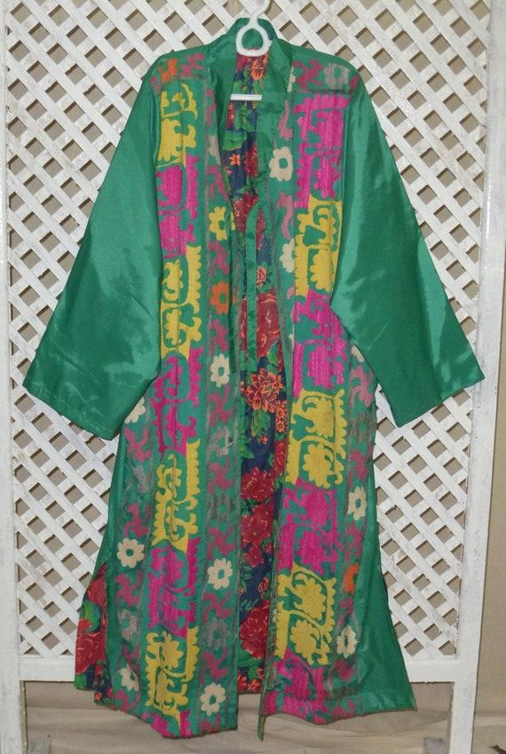 kaftan jacket Uzbek 059 silk unisex L style light natural chapan vintage condition embroidered original mint suzani hand size turquoise coat 6gwqfpW