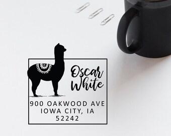 Alpaca Address Stamp, Llama Stamp, Return Address Rubber Stamp, House Stamp, Housewarming Gift, Self Inking Stamp - CA768
