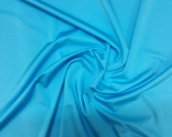 "Turquoise - Plain Lycra Spandex Stretch Fabric Material - 150cm (59"") wide per metre / half"
