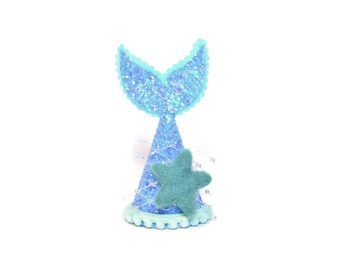 Blue and Mint Glitter Mermaid Party Hat | Mermaid Tail with Starfish for Mermaid Birthday Party