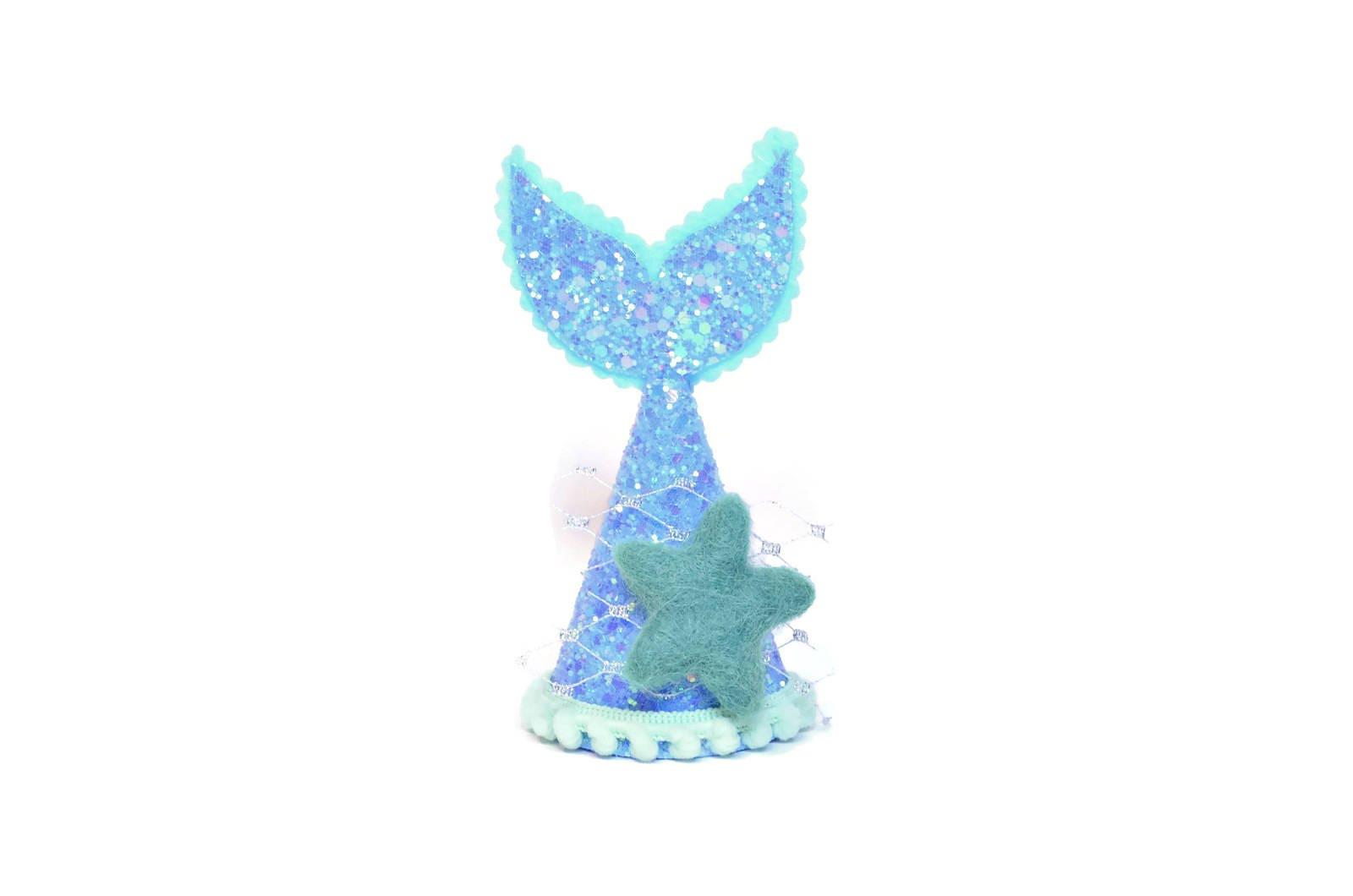Blau und Minze Glitzer Meerjungfrau Partyhut Meerjungfrau
