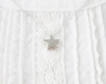Tiny Silver Star Charm Necklace Simple and Modern Necklace Bridesmaid Gift Bridesmaid Necklace Dainty Necklace