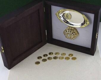 Wedding Arras, Elegant Wedding Coins, Gold-filled Wedding Arras, Wedding Arras Set in Wood Box, Arras De Matrimonio Laminadas en Oro, Boda