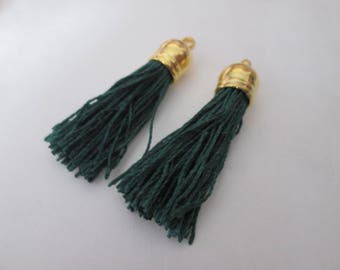 2 PomPoms 45 mm, dark green suede fringe tassel