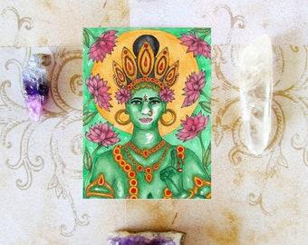 Goddess Art Print Green Tara Prayer Card ACEO Pagan Art Meditation Art Spiritual Art Sacred Art