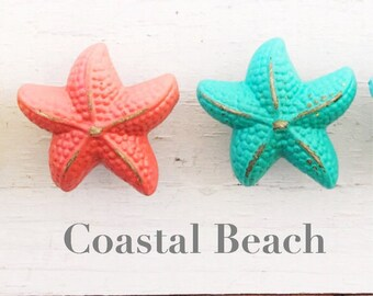 Set Of (2) Nautical Starfish Knobs , In Coral and Sea Glass Coastal Decor ,Nautical Bathroom Knob Beach House, Nautical Decor, Beach Decor