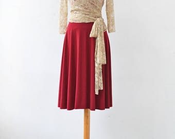 Red dress with sleeves, short dress with lace sleeves, lace bodice dress, lace sleeve dress, short red dress, lace wrap dress, red dress