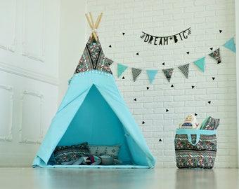 teepee tent, kids tent, kids teepee, kids teepee tent, play tent, play tents, kids play tent, canvas teepee tent, blue teepee, teepees