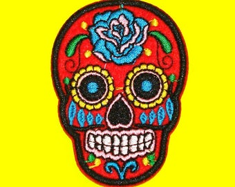 Sugar Skull Red Green Black Purple Charcoal Grey Day of the Dead Rose Iron or Sew On Patch - More Colours