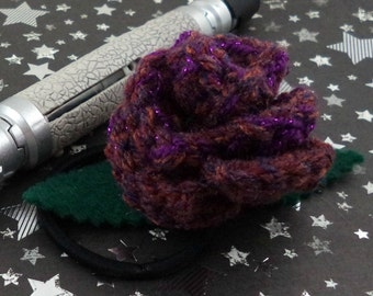 Martha Jones - Crocheted Rose Ponytail Holder or Bracelet - Dark Pink and Purple (SWG-HP-DWMJ03)