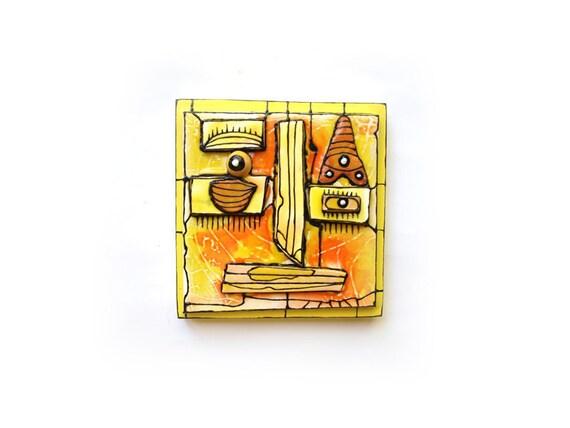 Yellow face 3D wall sculpture Modern ceramic Wall art