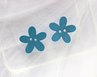 set of 5 button flowers scrapbooking blue wood
