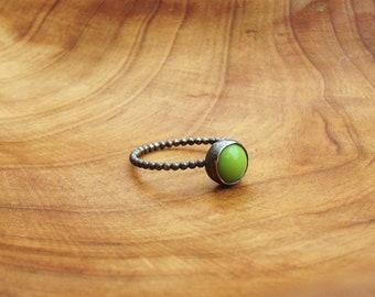Vintage Green Glass, Sterling Silver Ring OOAK