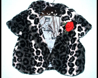Girls Rockabilly Coat in Leopard Skulls and Roses ........Size 12-14
