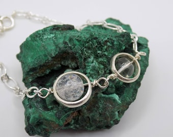 Transparency, clarity, 925 silver bracelet, rock crystal, birthstone