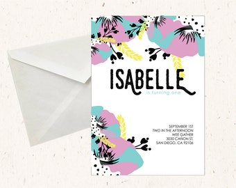 Floral Graphical Design - Customized birthday Invitation,  5x7