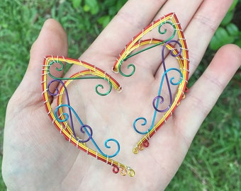 Rainbow Elven Ear Cuffs. Multicolored Ear Cuffs. Ear Cuffs. Pride Ear Cuffs. Colorful Ear Cuffs. Elven Ear Cuffs. Elf Ears. Fairy Ears
