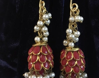 Costume ruby & pearl earrings
