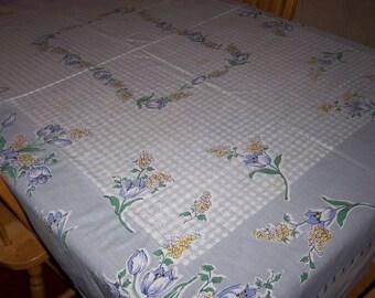 light blue floral check vintage tablecloth