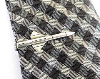 Missile Tie Bar Sterling Silver & Antiqued Brass Finishes Gifts For Men Groomsmen Gifts