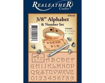 "Realeather 3/8"" Alphabet and Number Set Leather Stamp Kit"