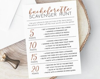 Bachelorette Scavenger Hunt, INSTANT DOWNLOAD, Printable Bachelorette Game, Selfie Challenge, Photo Game, Hen Party Game
