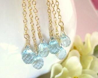 Triple Swiss blue quartz tear drop gold dangle earrings, swiss blue quartz gold tassle earrings, Frozen raindrop snow cluster earrings