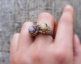 Jade and Amethyst Ring Brass Bezel Ring Stone jewelry