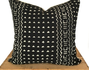 Milo Mudcloth Pillow Cover Authentic African Mud Cloth Pillow 18 Inch Black and White