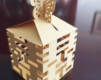 Set of 100 - Double Happiness Shimmer Gold Wedding Favor Gift Box - Great for Showers and Weddings!