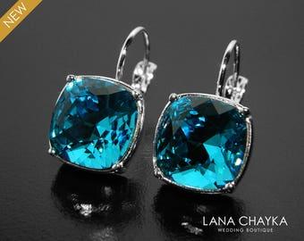 Indicolite Teal Crystal Earrings, Swarovski Indicolite Rhinestone Earrings, Teal Leverback Silver Earrings, Teal Jewelry Wedding Earrings