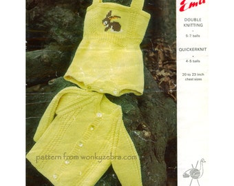 Jacket and Rompers Vintage Knit Pattern PDF B064 from WonkyZebraBaby