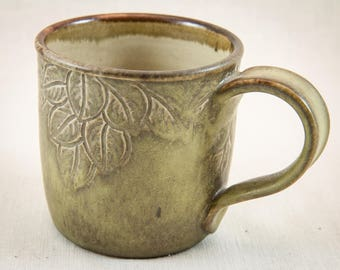 12 oz Hand Leaf Carved Stoneware Mug - Handmade Pottery Coffee Cup - Unique Earthy Tea Cup - Nature's Beauty Ceramic Mug - One of a Kind