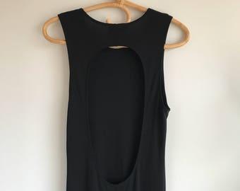 Vintage Long Black Keyhole Dress by Hobbs of London Size 14