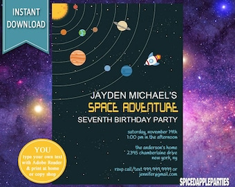 Space Invitation | Space Birthday, Outer Space Birthday, Outer Space Party, Birthday Invitation, Outer Space Invite, Rocket Invitation