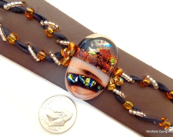 Brown Fused Glass/Beaded Leather Cuff