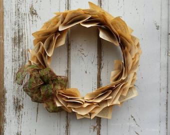 Primitive Rustic Vintage Holiday/Autumn Book Page Wreath