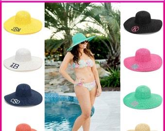 Monogrammed Beach Hat, Monogrammed Sun Hat, Monogrammed Floppy Hat, Personalized Beach hat, Floppy Hat, Monogrammed Derby hat - BH04