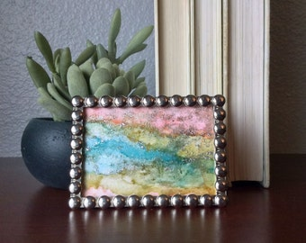 Abstract rainbow | tiny abstract painting | alcohol ink art | glitter painting | mini art | desktop art decor | small framed abstract
